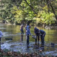 Lehigh University Environmental Initiative-Group measuring by river