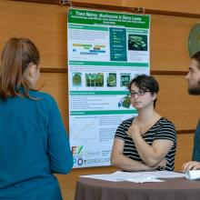 Student presenting research to other students